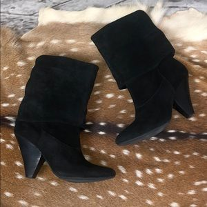 Gianni Bini Black Leather Suede Boots Size 10